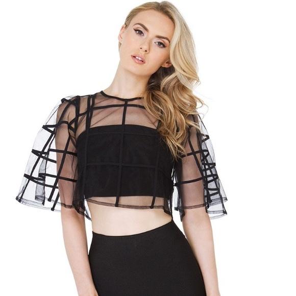 28350ec76a4 NWT Gracia Black Caged Sheer Crop Top